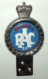 Rhodesia Royal Automobile Club RAC South Africa Bumper Badge