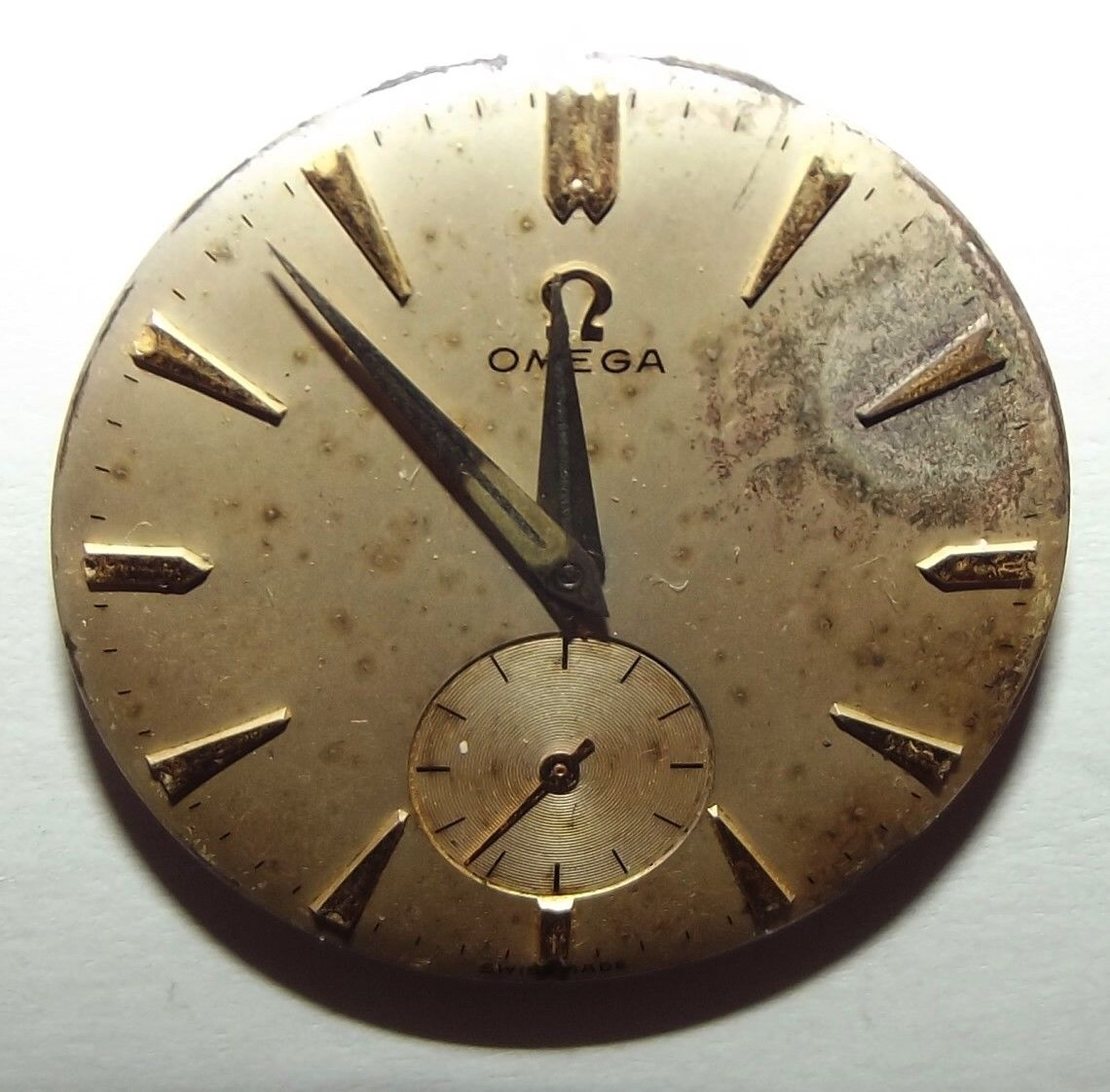 Watch wrist parts -  Vintage Omega 17 Jewels Swiss Made Wrist Watch Face For Parts