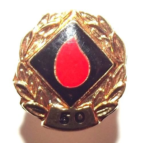 South African Blood Donor 50th Donation Metal Lapel Pin Badge