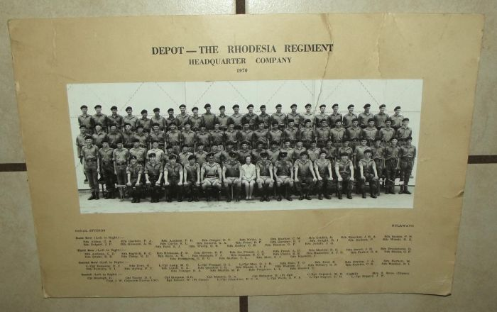 1970 Rhodesia Regiment Depot HQ Company Photograph