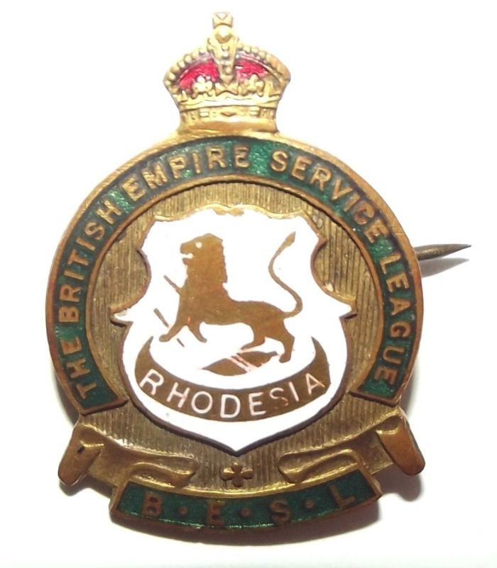 Rhodesia BESL British Empire Service League Metal Lapel Pin Badge