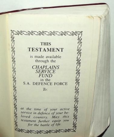 1988 South Africa SADF Chaplain Service English Pocket Bible 2