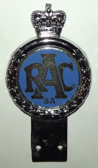 RAC Royal Automobile Club South Africa Metal Car Bumper Badge