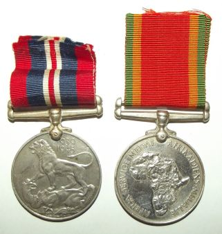 South Africa WW II 1939-45 War and Africa Service Medals