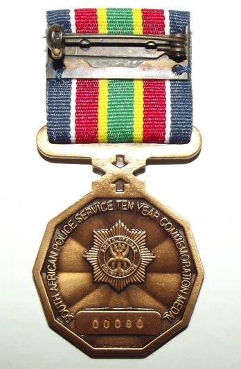 South African Police Service 10 Year Commemoration Full Size Medal 2