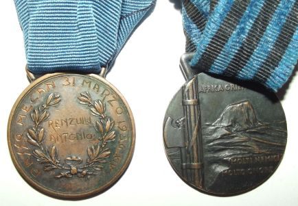 Italian Named Al Valore Militare and Colonial Ethiopia Medal Pair 2