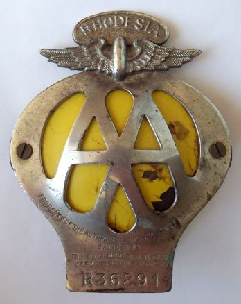 Rhodesia AA Automobile Association Metal Car Bumper Badge