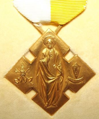 Catholic Benemerenti Medal Issued by the Pope