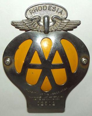 Rhodesia AA Automobile Association Metal Car Bumper Badge
