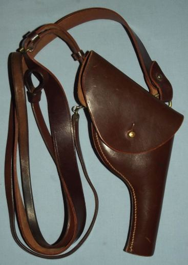 Vintage Police Brown Leather Revolver Holster and Shoulder Strap